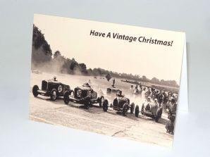 "BUGATTIS & TALBOTS At Brooklands ""Have A Vintage Christmas"" Card"
